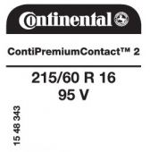 215/60 R16 95V Continental ContiPremiumContact 2 (VW Beetle)