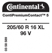 205/60 R16 96V Continental ContiPremiumContact 5 XL * (BMW)