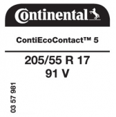 205/55 R17 91V Continental ContiEcoContact 5 (VW Polo Crossover)