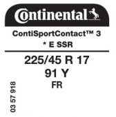 225/45 R17 91Y Continental ContiSportContact 3 FR E SSR RunFlat * (BMW E90 Series 3)