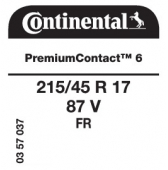 215/45 R17 87V Continental PremiumContact 6 FR