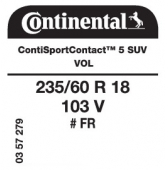 235/60 R18 103V Continental ContiSportContact 5 SUV FR VOL (Volvo XC60)