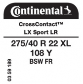 275/40 R22 108Y Continental CrossContact LX Sport XL FR LR (Land Rover)