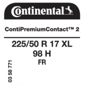 225/50 R17 98H Continental ContiPremiumContact 2 XL FR (VW Sharan)