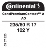 235/60 R17 102Y Continental ContiPremiumContact 2 AO (Audi A8 D4)