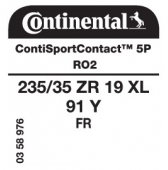 235/35 ZR19 91Y Continental ContiSportContact 5P XL FR RO2 (Audi RS3)