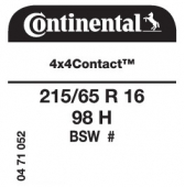 215/65 R16 98H Continental 4x4Contact (GM NIVA)
