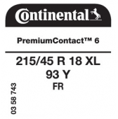 215/45 R18 93Y Continental PremiumContact 6 XL FR (Seat Arosa, Renault Capture, Volvo V50)