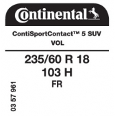235/60 R18 103H Continental ContiSportContact 5 SUV FR VOL (Volvo XC90)