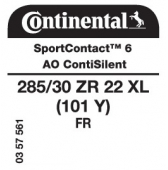 285/30 ZR22 (101Y) Continental SportContact 6 XL FR ContiSilent AO (Audi)