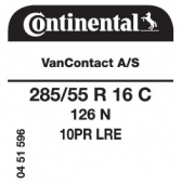 285/55 R16C 126N Continental VanContact A/S 10PR (VW Crafter)