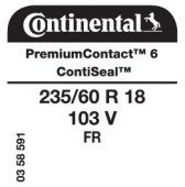 235/60 R18 103V Continental PremiumContact 6 FR ContiSeal (Renault Espace)