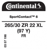 265/30 ZR22 (97Y) Continental SportContact 6 XL FR