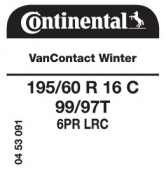 195/60 R16C 99/97T Continental VanContact Winter 6PR