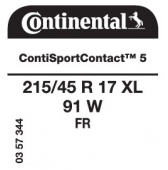 215/45 R17 91W Continental ContiSportContact 5 XL FR (VW Polo)