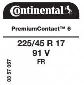 225/45 R17 91V Continental PremiumContact 6 FR