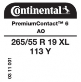 265/55 R19 113Y Continental PremiumContact 6 XL AO (Audi)