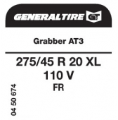 275/45 R20 110V General Tire Grabber AT3 XL FR