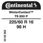 225/60 R16 98H Continental WinterContact TS850 P