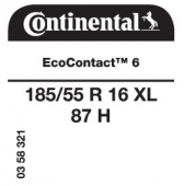 185/55 R16 87H Continental EcoContact 6 XL