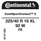 225/40 R18 92W Continental ContiSportContact 5 XL FR (Renault Megane)