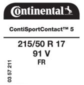 215/50 R17 91V Continental ContiSportContact 5 FR (Opel Astra)