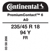 235/45 R18 94Y Continental PremiumContact 6 FR AO (Audi SQ2)