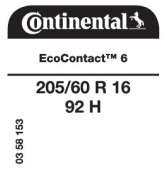 205/60 R16 92H Continental EcoContact 6 (VW T-Cross)