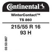 215/55 R16 93H Continental WinterContact TS860