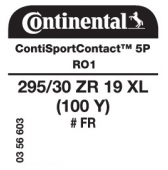 295/30 ZR19 (100Y) Continental ContiSportContact 5P XL FR RO1 (Audi R8 1st Gen)