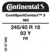 245/40 R18 93Y Continental ContiSportContact 3 FR MO (Mercedes CLS C219)