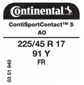 225/45 R17 91Y Continental ContiSportContact 5 FR AO (Audi A3)