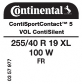 255/40 R19 100W Continental ContiSportContact 5 XL FR ContiSilent VOL (Volvo V70)