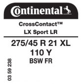 275/45 R21 110Y Continental CrossContact LX Sport XL FR LR (Land Rover)