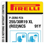 255/30 R19 91Y Pirelli P Zero PZ4 Sports Car XL PNCS RO2 (Audi A3 RS3)
