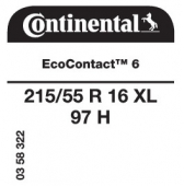 215/55 R16 97H Continental EcoContact 6 XL