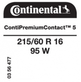 215/60 R16 95W Continental ContiPremiumContact 5 (Ford Mondeo)