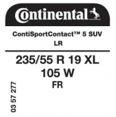 235/55 R19 105W Continental ContiSportContact 5 SUV XL FR LR (Range Rover Evoque)