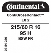 215/60 R16 95H Continental ContiCrossContact LX 2 FR (Renault Scenic X95 JCross 4x4)