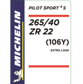 265/40 ZR22 (106Y) Michelin Pilot Sport 4 S XL