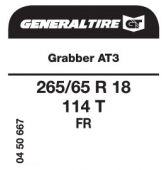 265/65 R18 114T General Tire Grabber AT3 FR