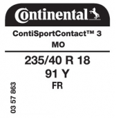 235/40 R18 91Y Continental ContiSportContact 3 FR MO (Mercedes E-Class Coupe C207)