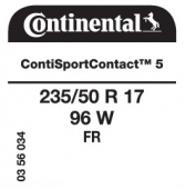 235/50 R17 96W Continental ContiSportContact 5 FR (Ford Mondeo)