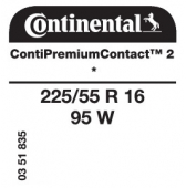 225/55 R16 95W Continental ContiPremiumContact 2 * (BMW)