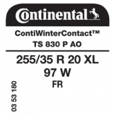 255/35 R20 97W Continental ContiWinterContact TS830 P XL FR AO (Audi)