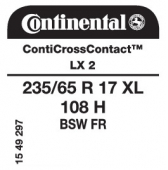235/65 R17 108H Continental ContiCrossContact LX 2 XL FR
