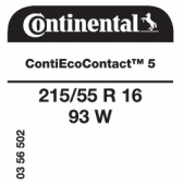 215/55 R16 93W Continental ContiEcoContact 5