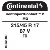 215/45 R17 87V Continental SportContact 2 FR MO (Mercedes A-Class W169)