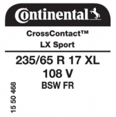 235/65 R17 108V Continental CrossContact LX Sport XL FR (Chrysler Town and Country)