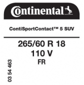 265/60 R18 110V Continental ContiSportContact 5 FR